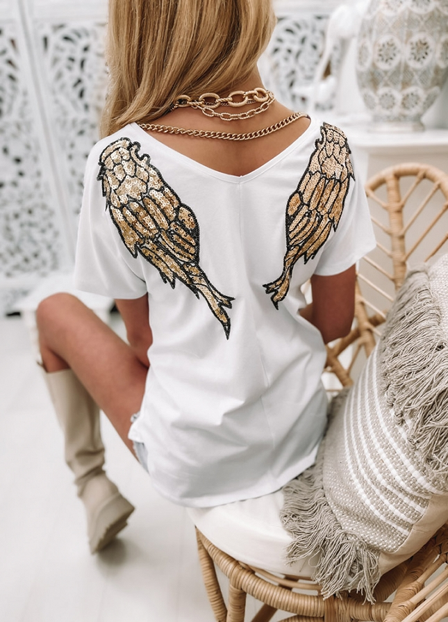 Bluzka z cekinami WINGS - G988 white
